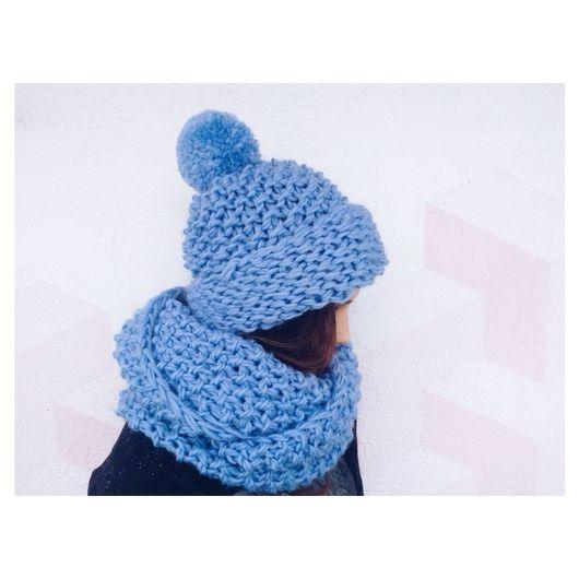 Комплекты аксессуаров ручной работы. Ярмарка Мастеров - ручная работа. Купить Комплект шарф-снуд и шапка из натуральной шерсти голубого цвета. Handmade.