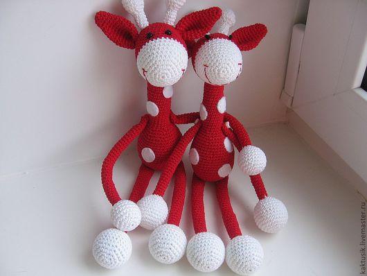 Развивающие игрушки ручной работы. Ярмарка Мастеров - ручная работа. Купить Два жирафа. Handmade. Ярко-красный, погремушка