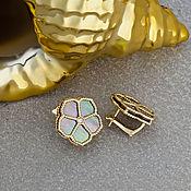 Украшения handmade. Livemaster - original item Earrings with black mother of pearl and yellow gold diamonds 585. Handmade.