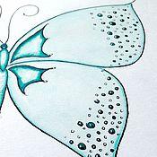 Картины ручной работы. Ярмарка Мастеров - ручная работа Мятная бабочка на белом фоне. Акварель.. Handmade.