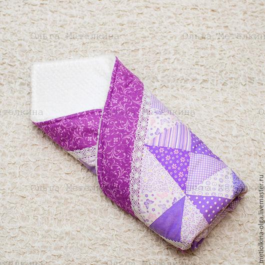 Для новорожденных, ручной работы. Ярмарка Мастеров - ручная работа. Купить Детское лоскутное одеяло для новорожденного на выписку. Handmade. Сиреневый