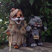 Мягкие игрушки ручной работы. Ярмарка Мастеров - ручная работа Лиса Алиса и кот Базилио. Handmade.