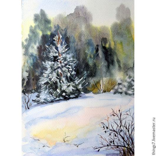 Пейзаж ручной работы. Ярмарка Мастеров - ручная работа. Купить О зиме. Handmade. Комбинированный, зима, лес, акварельная бумага