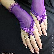 Аксессуары ручной работы. Ярмарка Мастеров - ручная работа Фиолетовые перчатки. Handmade.