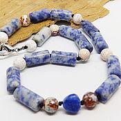 handmade. Livemaster - original item Celestial winding bracelet (chalcedony, sodalite in quartz). Handmade.