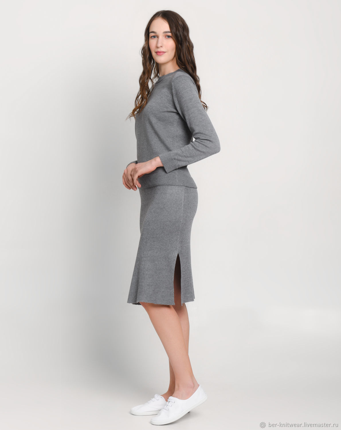 Gray cashmere skirt and sweater knit suit, Suits, Tolyatti,  Фото №1