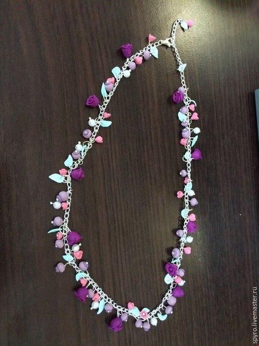 Колье, бусы ручной работы. Ярмарка Мастеров - ручная работа. Купить Цветочное ожерелье. Handmade. Ожелье, полимерная глина, розы