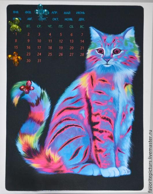 """Календари ручной работы. Ярмарка Мастеров - ручная работа. Купить Вечный календарь на магните """"Радужный котик"""". Handmade. котик, разноцветный"""