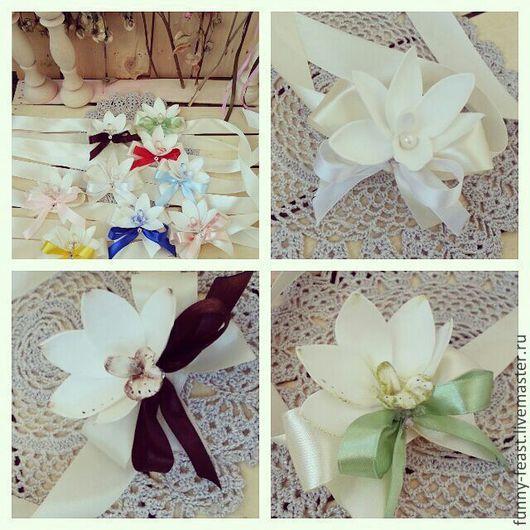 """Свадебные украшения ручной работы. Ярмарка Мастеров - ручная работа. Купить Браслет """"Орхидея"""". Handmade. Белый, орхидеи, полимерная глина"""