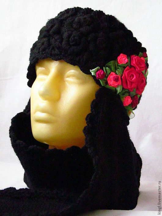 """Шапки ручной работы. Ярмарка Мастеров - ручная работа. Купить шапка вязаная женская черная """" Единство противоположностей """". Handmade."""