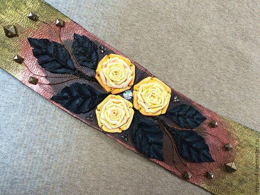 """Пояса, ремни ручной работы. Ярмарка Мастеров - ручная работа. Купить Пояс """"Роскошные розы"""". Handmade. Пояс кожаный"""