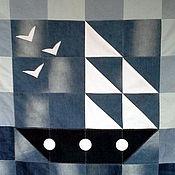 Для дома и интерьера ручной работы. Ярмарка Мастеров - ручная работа Джинсовый плед Кораблик. Handmade.