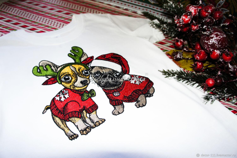 """Вышивка на футболке: """"Новогодние собачки"""", Футболки, Курск,  Фото №1"""