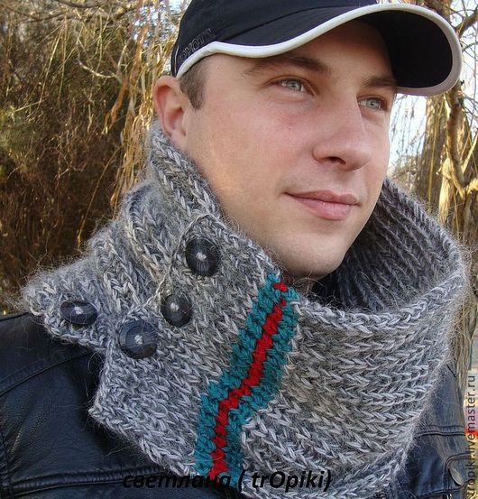 Купить мужской шарф- снуд вязаный - серый, шарф, шарф ...