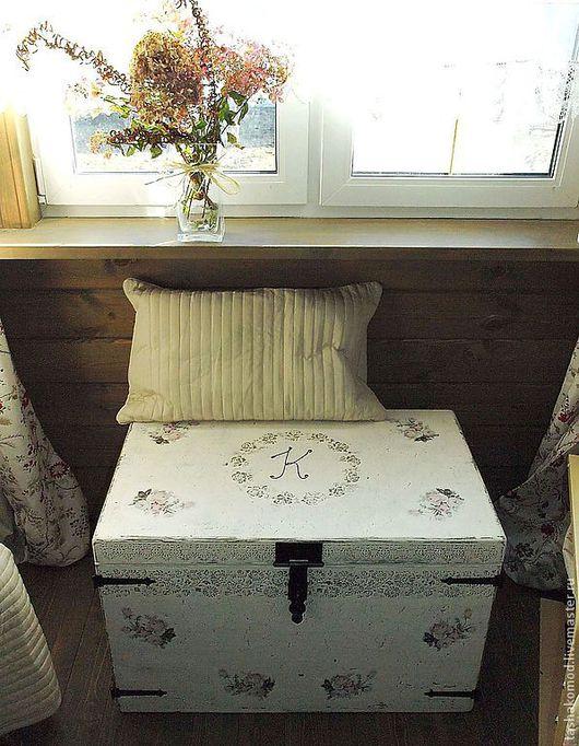 """Мебель ручной работы. Ярмарка Мастеров - ручная работа. Купить Сундук именной """"Шебби-шик"""". Handmade. Сундук"""