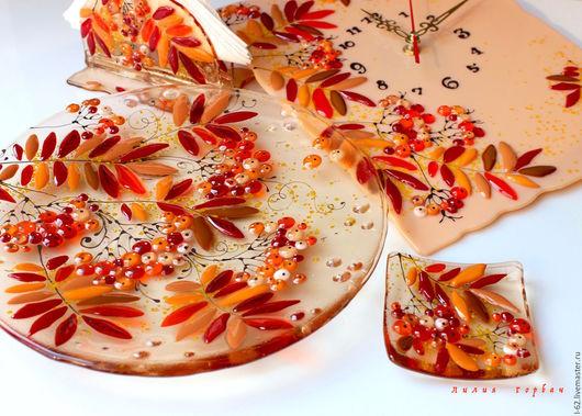 Тарелки ручной работы. Ярмарка Мастеров - ручная работа. Купить комплект  из стекла, фьюзинг  Осенняя свадьба. Handmade. Рыжий, свадьба