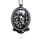 Украшения handmade. Livemaster - original item Soutache pendant, brooch pendant decoration made of natural stone Poppy. Handmade.