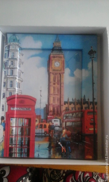 """Персональные подарки ручной работы. Ярмарка Мастеров - ручная работа. Купить Рамка-картина """"Лондон"""". Handmade. Ярко-красный, рамка"""