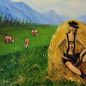 """Картины ручной работы. Ярмарка Мастеров - ручная работа Картина маслом """"Молочные поля"""". Handmade."""