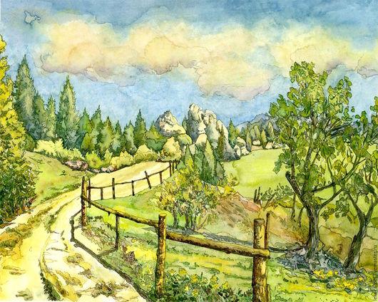"""Пейзаж ручной работы. Ярмарка Мастеров - ручная работа. Купить Акварель """"Дорога"""". Handmade. Салатовый, пейзаж, зеленый"""