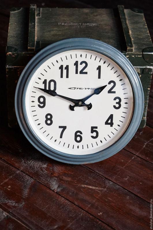 """Часы для дома ручной работы. Ярмарка Мастеров - ручная работа. Купить Часы """"Стрела"""". Handmade. Тёмно-синий, индустриальный стиль"""