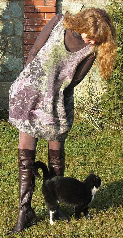 """Платья ручной работы. Ярмарка Мастеров - ручная работа. Купить Платье-баллон """"Северное сияние"""". Handmade. Валяное платье"""