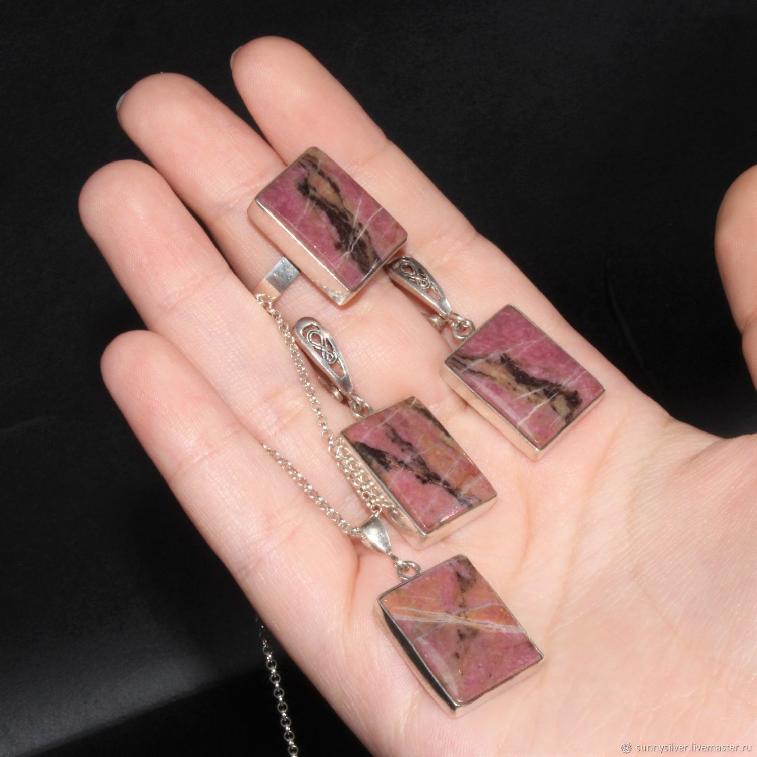 Vivea jewelry set with rhodonite from 925 sterling silver, Jewelry Sets, Yerevan,  Фото №1