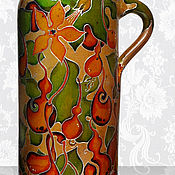 Посуда handmade. Livemaster - original item Bottle Gourd, stained glass painting on ceramics. Handmade.