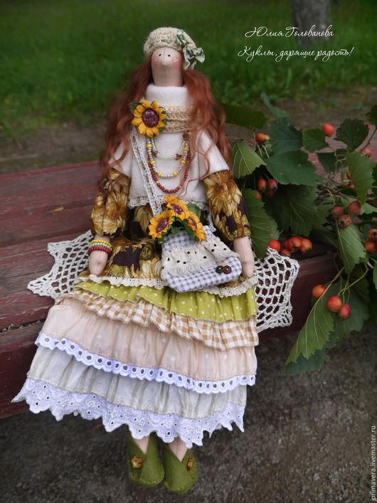 тильда, кукла тильда, бохо, бохо тильда, тильда в стиле бохо, подарок на день рождения, тильда подарок, тильда ангел, тильда купить, подсолнухи, горчичный, желтый, Юлия Голованова, Ярмарка мастеров