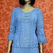 Одежда ручной работы. Ярмарка Мастеров - ручная работа платье вязаное голубое. Handmade.