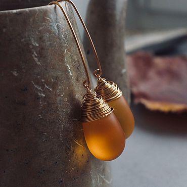 Decorations handmade. Livemaster - original item Honey-colored drop earrings. Handmade.