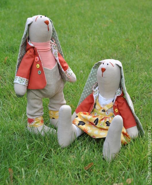 Куклы Тильды ручной работы. Ярмарка Мастеров - ручная работа. Купить Солнечная парочка зайчат. Handmade. Оранжевый, тильда заяц