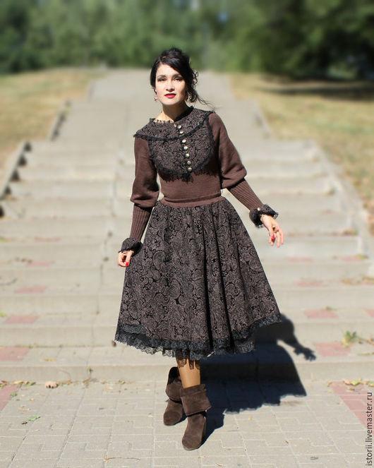 """Платья ручной работы. Ярмарка Мастеров - ручная работа. Купить Ретро-платье из коллекции """"Графиня"""" (шоколадный твид). Handmade."""