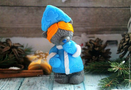 Материалы для косметики ручной работы. Ярмарка Мастеров - ручная работа. Купить Эксклюзивная силиконовая форма Тедди снегурочка. Handmade. Голубой