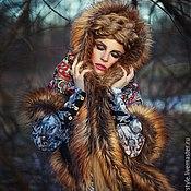 Одежда ручной работы. Ярмарка Мастеров - ручная работа Платок с мехом в Русском стиле. Handmade.