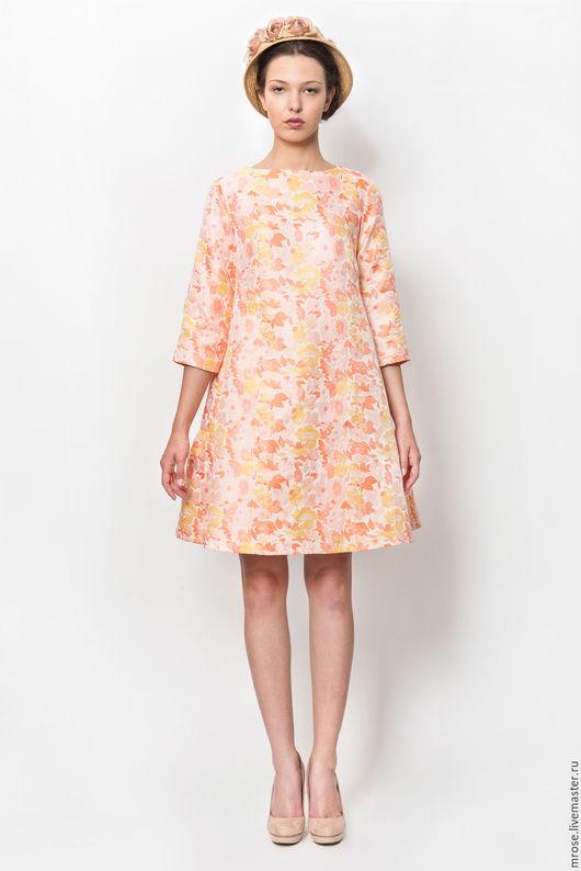 Платья ручной работы. Ярмарка Мастеров - ручная работа. Купить Вечернее ретро-платье трапеция из парчи. Handmade. Оранжевый