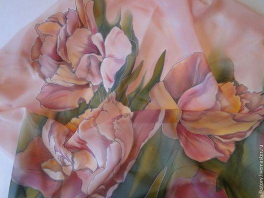 Шали, палантины ручной работы. Ярмарка Мастеров - ручная работа. Купить платок Нежные тюльпаны. Handmade. Купить подарок
