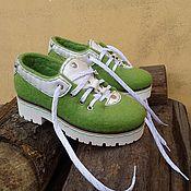 Обувь ручной работы. Ярмарка Мастеров - ручная работа Валянные летние туфли Весенняя Зелень. Handmade.