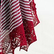 Аксессуары ручной работы. Ярмарка Мастеров - ручная работа Темно-красный полосатый платок. Handmade.