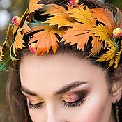 Украшения handmade. Livemaster - original item Set decoration leather Autumn jazz. Headband and earrings.. Handmade.