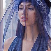 Чалмы ручной работы. Ярмарка Мастеров - ручная работа ТЮРБАН нарядный чалма шапка из синего бархата с вуалью. Handmade.