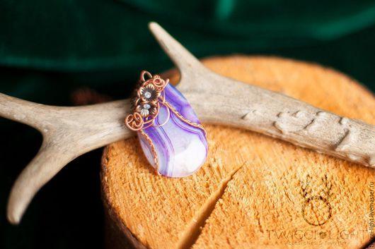 Кулоны, подвески ручной работы. Ярмарка Мастеров - ручная работа. Купить Кулон из тонированного агата. Handmade. Фиолетовый, цветы, лавандовый