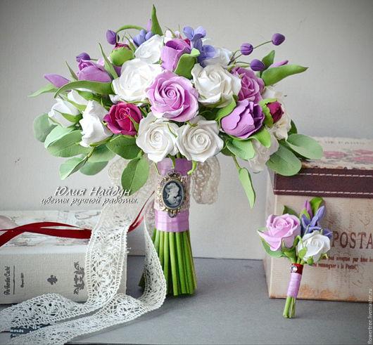 Букеты ручной работы. Ярмарка Мастеров - ручная работа. Купить Букет невесты с цветами из полимерной глины. Handmade. Белый, тюльпаны