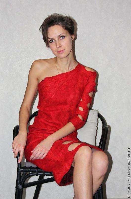 Платья ручной работы. Ярмарка Мастеров - ручная работа. Купить Красное Валяное платье. Handmade. Ярко-красный, вечернее платье