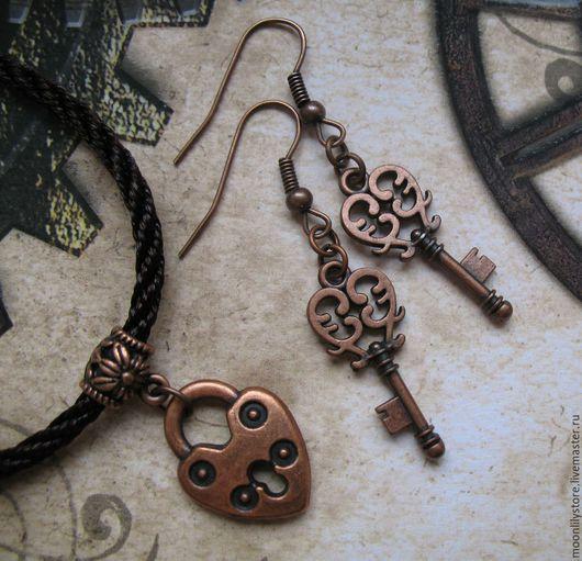 Комплекты украшений ручной работы. Ярмарка Мастеров - ручная работа. Купить Комплект Keys to the Heart (Ancient Copper). Handmade.