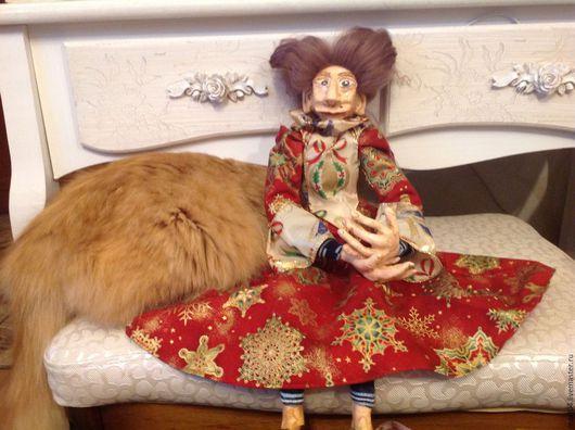 Коллекционные куклы ручной работы. Ярмарка Мастеров - ручная работа. Купить Арика. Handmade. Бордовый, новогодний интерьер, натуральная шерсть