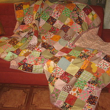 """Текстиль ручной работы. Ярмарка Мастеров - ручная работа Лоскутное покрывало- одеяло  """"Золотые деньки"""". Handmade."""