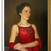 Картины и панно ручной работы. Ярмарка Мастеров - ручная работа Портрет дамы в красном. Handmade.