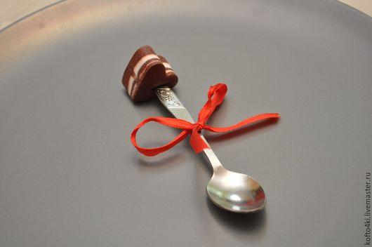 """Кухня ручной работы. Ярмарка Мастеров - ручная работа. Купить Вкусная ложечка с конфеткой-сердцем """"Бельгийский шоколад"""". Handmade. Ложка"""