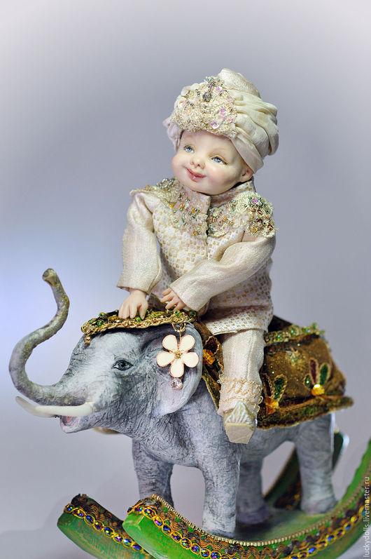 Коллекционные куклы ручной работы. Ярмарка Мастеров - ручная работа. Купить Мальчик на слоне. Handmade. Авторская ручная работа, качалка